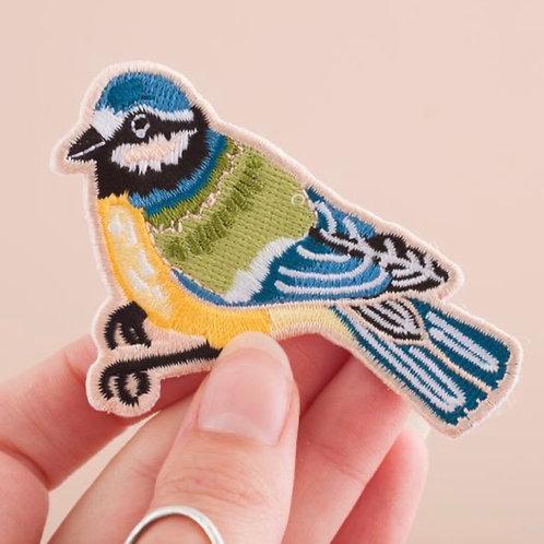 Bluetit Bird Embroidered Iron-on Patch