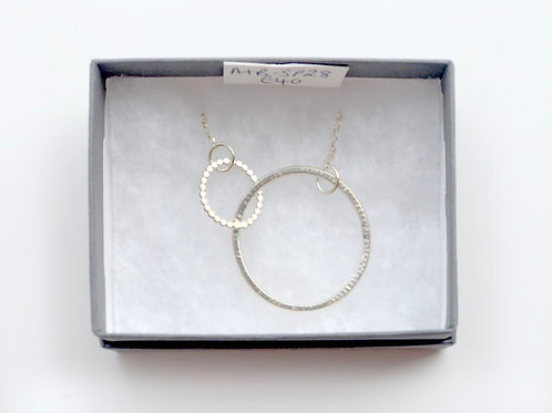 Extra Large Silver Circle with Silver Chain Necklace
