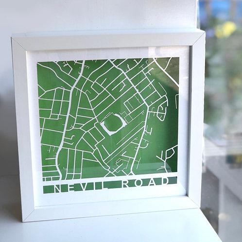 Nevil Road White Frame, White Roads, Green Background