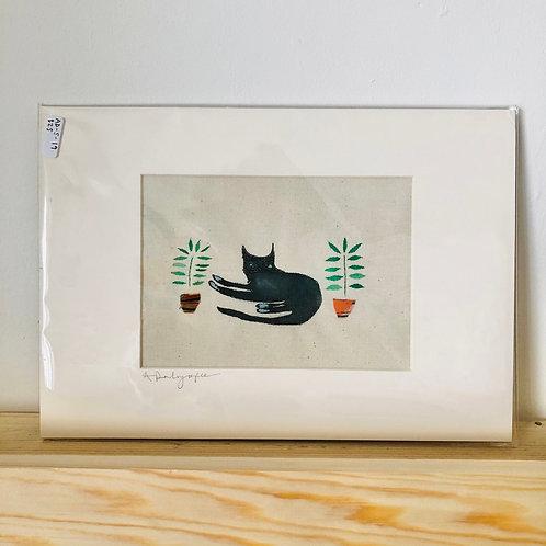 Black cat & plant pots Original Embroidery