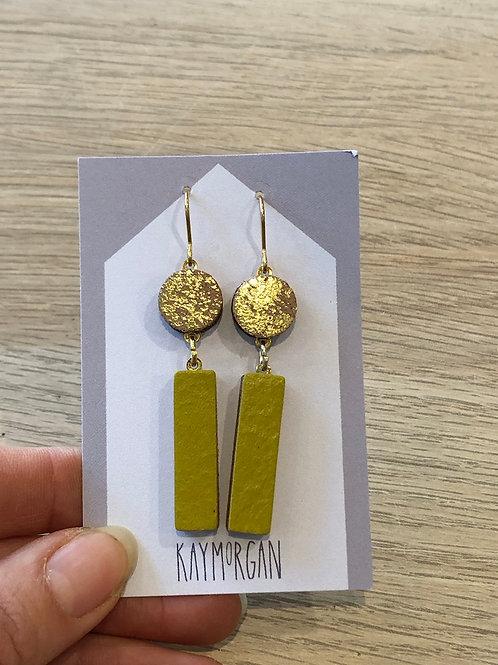 Block Earrings - Gold/Olive