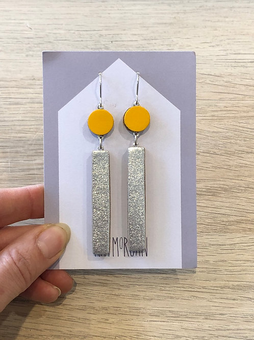 Long Block Earring - Yellow/Silver