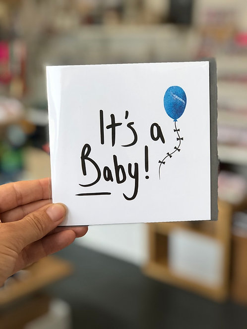 It's a baby! Blue Balloon Greetings Card
