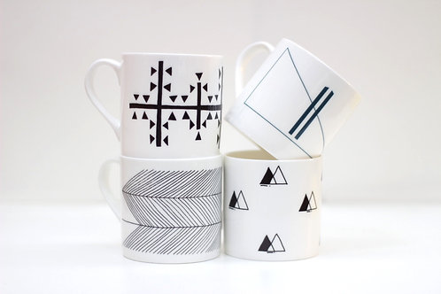 Set of Symbol Collection Bone China Mugs