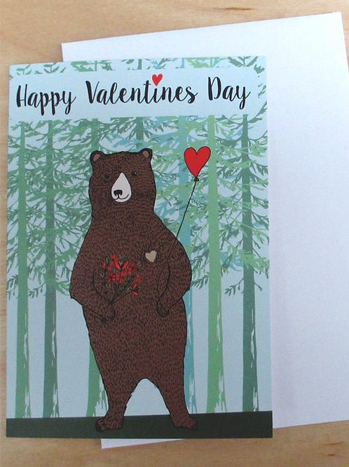 Happy valentines day bear greetings card