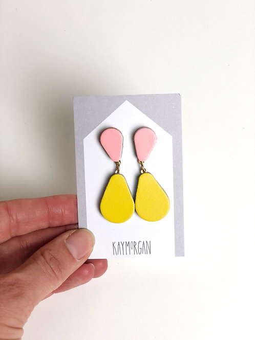 Small Tier Drop Earrings - Pink/Yellow