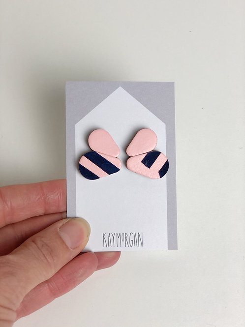 Double Scallop Earring studs - Pink/Navy