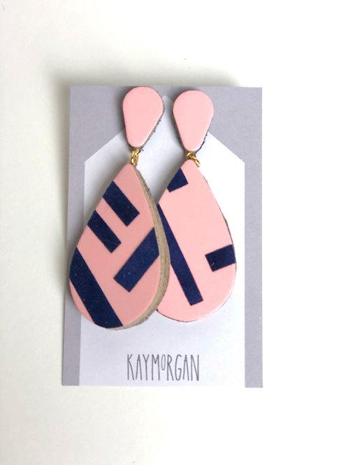 Medium Tier Drop Earrings - Pink/Navy
