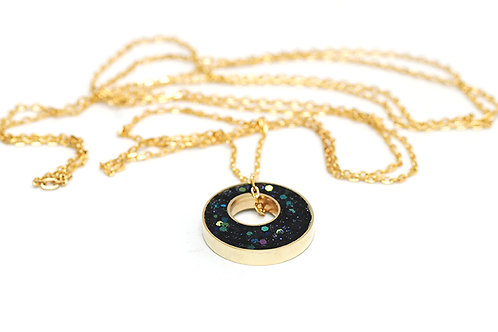 Glitter and Brass Necklace in Inkwell
