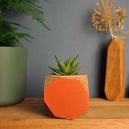 Large Orange Geo Planter