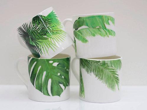 Set of Tropical Leaf Mugs