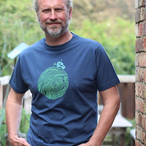 Earth Rover T-shirt, blue denim