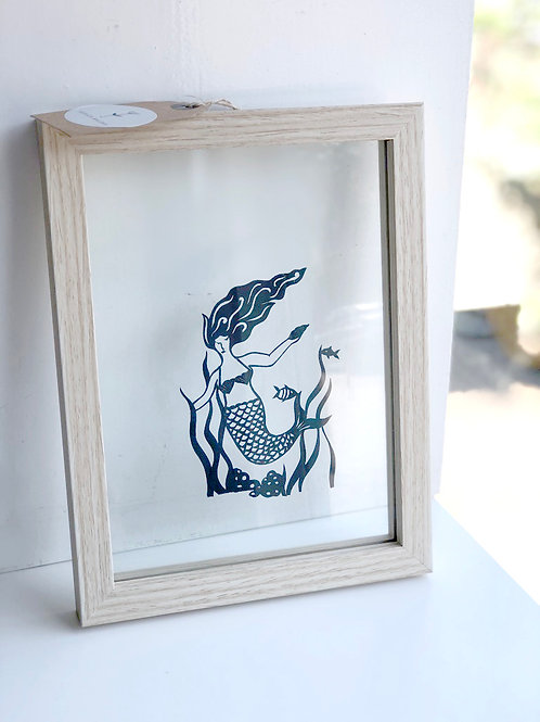 Papercut Mermaid in glass frame