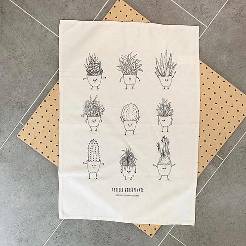 Hostile House Plants Tea Towel