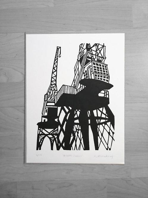 Bristol Cranes  lino print- A3