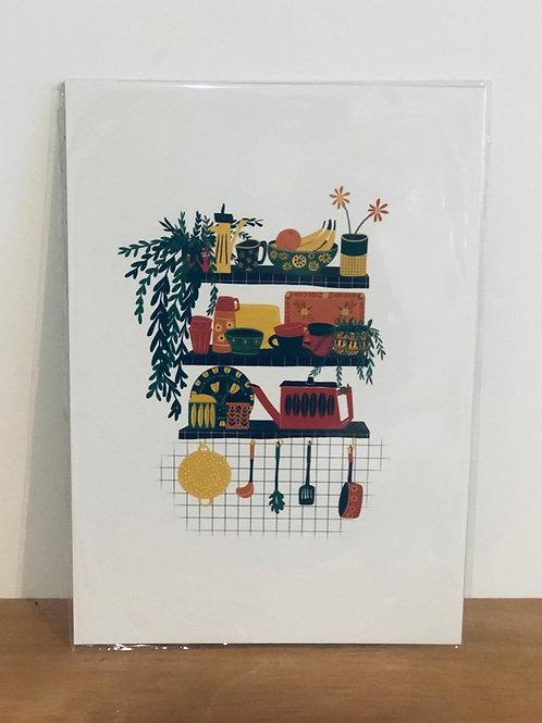 Retro Shelf Print - A4