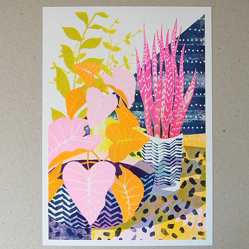 House Plants Riso Print - A4 & A3