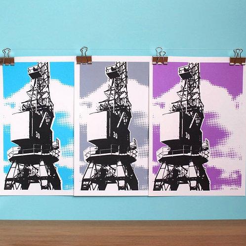 Purple Crane A4 Print