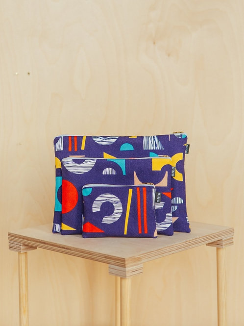 Shape Navy Zip Pouches