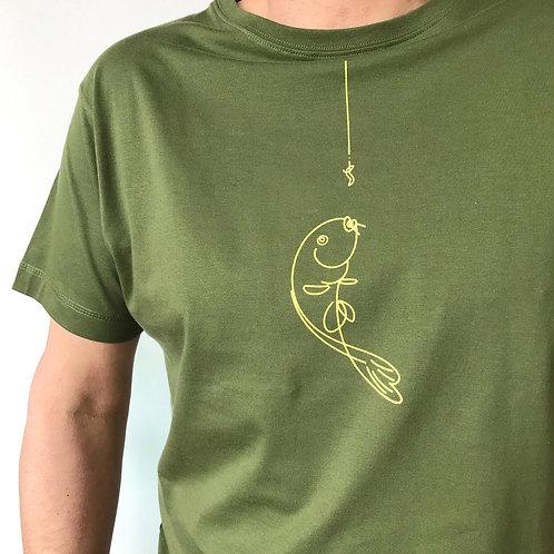 Green Fishing T-shirt: 'Hooked'