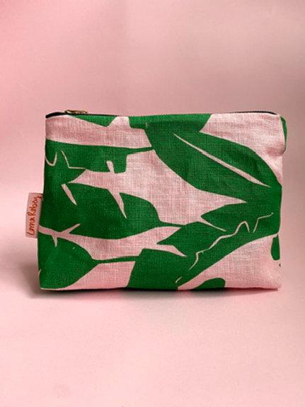 Screen Printed Linen Pouch - Green