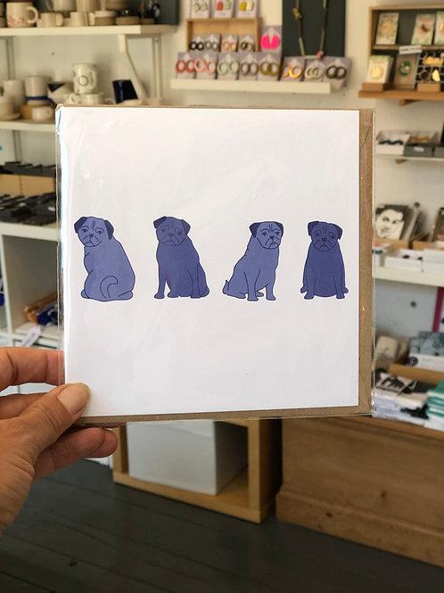 Posing Pugs Dog Card
