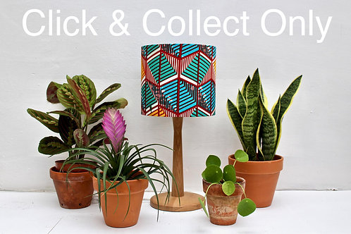 Turquoise & Red Geo African Wax print Lampshade
