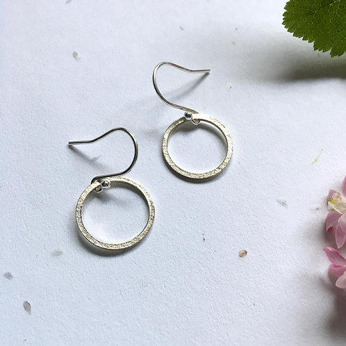 Small Sterling Silver paper print circles earrings