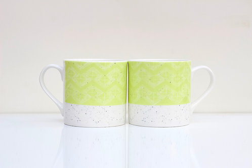 Leaf Sgraffito design Bone China Mug