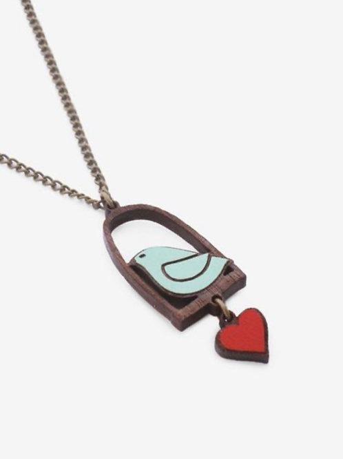 Blue Bird & Love Necklace (red heart)