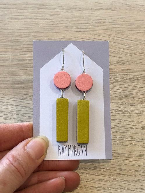 Block Earrings - Pink/Olive