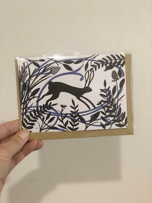Blue Hare Greetings Card