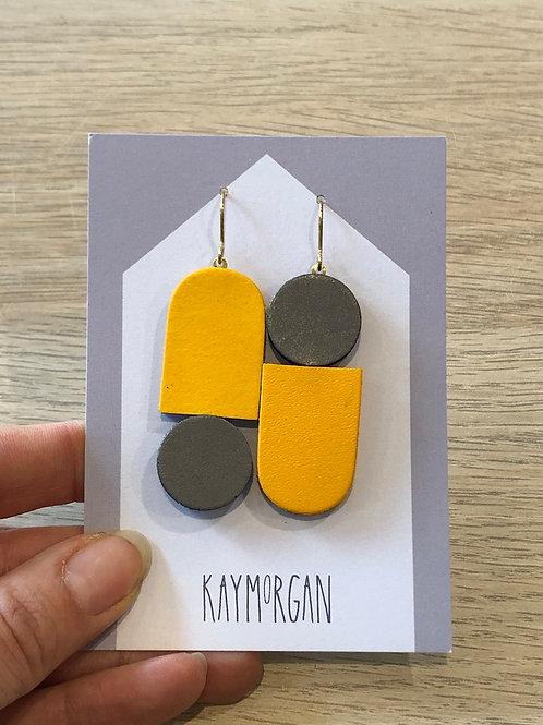 Totem Earrings - Yellow/Grey