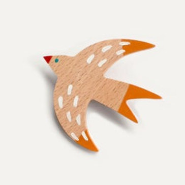 Swallow Brooch - Orange