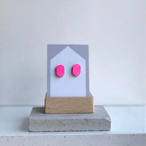 Hot Pink Oval Stud Earrings
