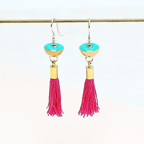 Brass Earrings with Pink tassel & Turquoise charm