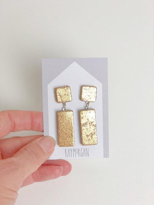 Block Stud Earrings - Gold