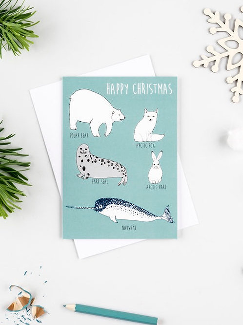 Happy Christmas Arctic Animals  Card