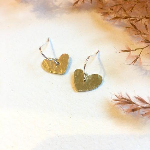 Small brass heart earrings