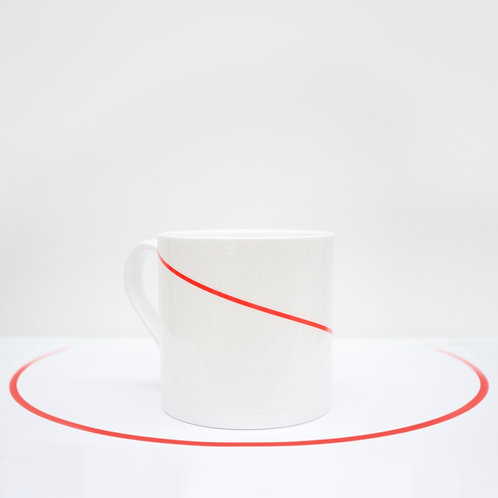 Red Line - Diagonal Bone China Mug