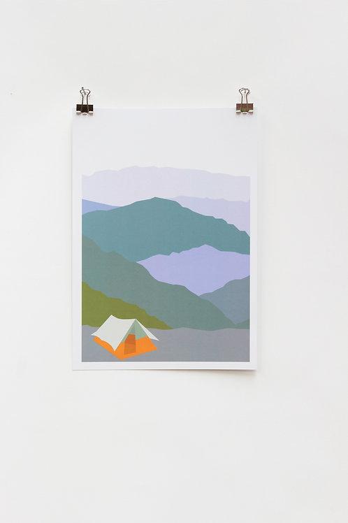 Camping Tent A4 Print