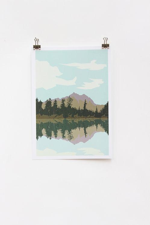 Lake and Mountains A4 Print
