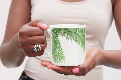Palm Leaf Bone China Mug