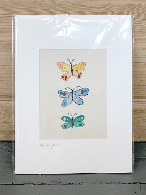 Embroidered & hand painted Butterflies