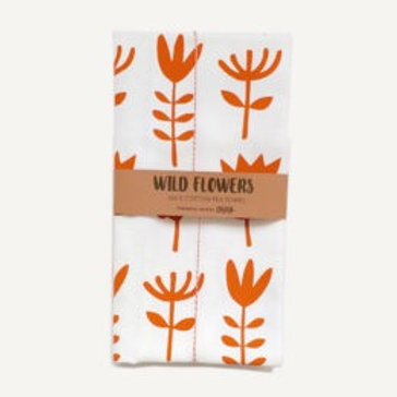 Wild flowers tea towel – Orange