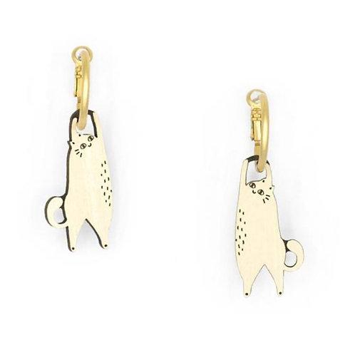 Hanging Cat Cream Earrings