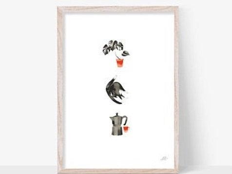 Cat Coffee Plant A3 Print (unframed)