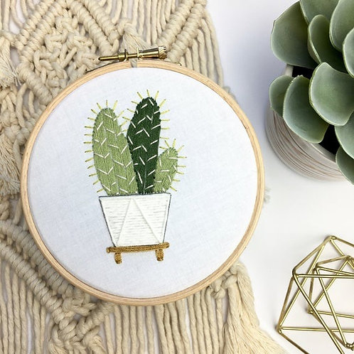 Cactus in a pot Embroidery Hoop