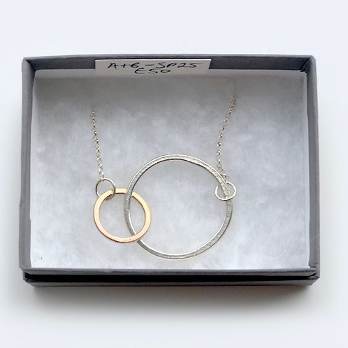 Large Silver Circle with Small Rose Gold Circle Neckalce