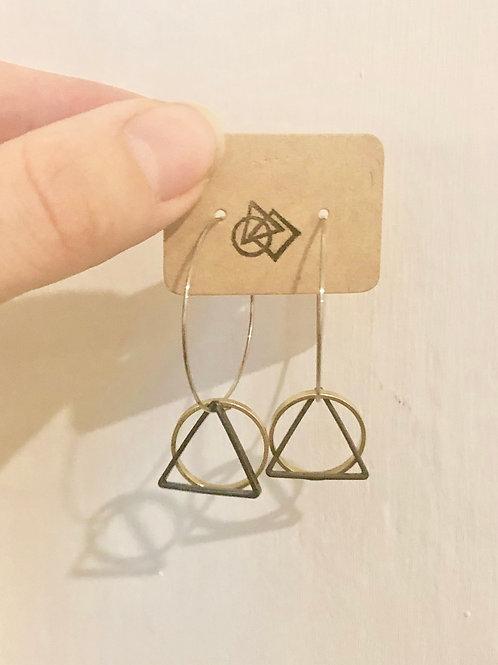 Circle & Triangle Hoop earrings